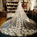 Hermoso Blanco/Marfil velo de novia velo nupcial 2016 nuevas flores tridimensionales Coreana arrastrarse largo velo de tres metros de ancho