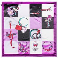 Size 60*60 Cm Spring&Summer Women's Scarf Fashion Lady Silk Scarf 2017 Brand Classic Flower Butterfly Bag Pattern Female Muffler