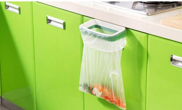 Hot Cupboard Door Back Trash Rack Storage Garbage Bag Holder Hanging Kitchen Cabinet Hanging Trash Rack 12.5*22cm