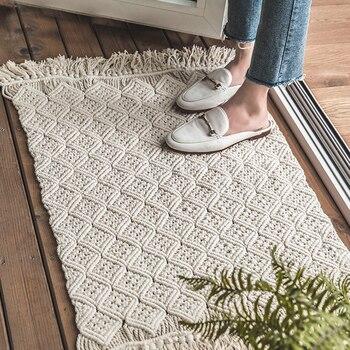 Kilim Solid cotton morocco Living room Carpet geometric white blue Indian Rug bohemia striped Modern Mat design Nordic style