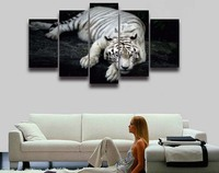 5 Panel Printed White Tiger Animal Modular Picture Landscape Wall Art For Living Room Home Decoration