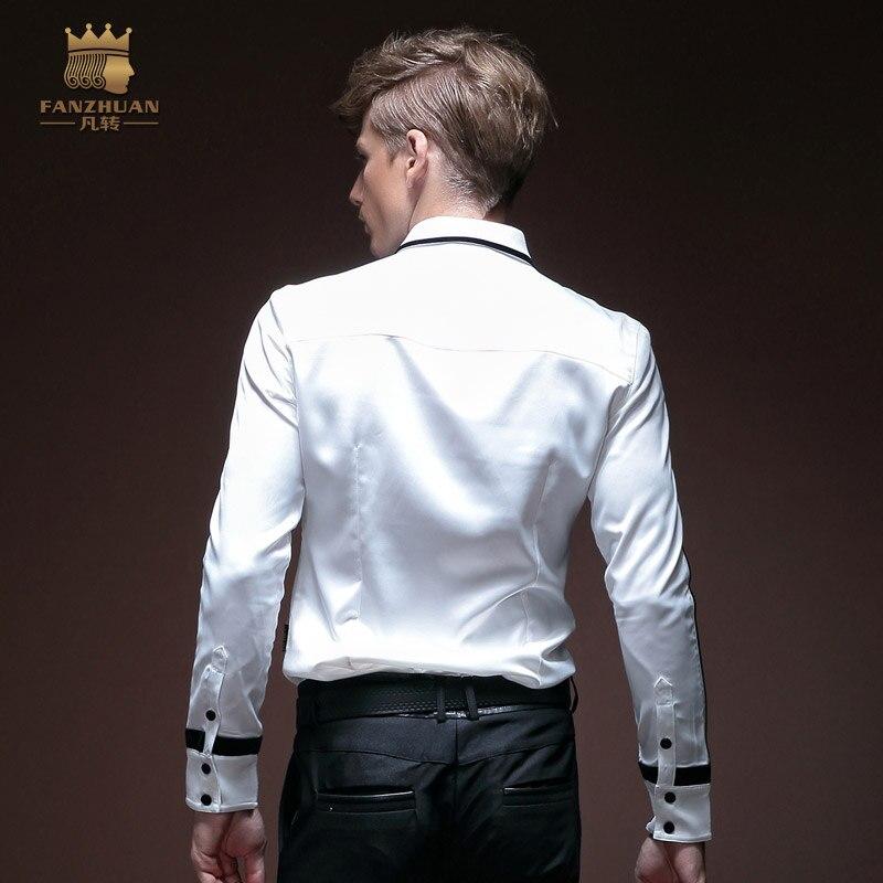 Fanzhuan Freies Verschiffen männer frühjahr männlichen mode herbst kleid weiß falten geometrische design Koreanischen stil lange ärmeln 14252 hemd-in Legere Hemden aus Herrenbekleidung bei  Gruppe 2