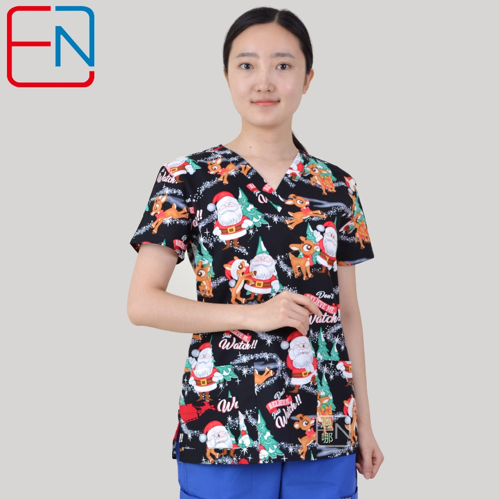 Brand Medical Scrub Tops For Women Surgical Scrubs,scrub Uniform In 100% Print Cotton Christmas Series Shrink-Proof