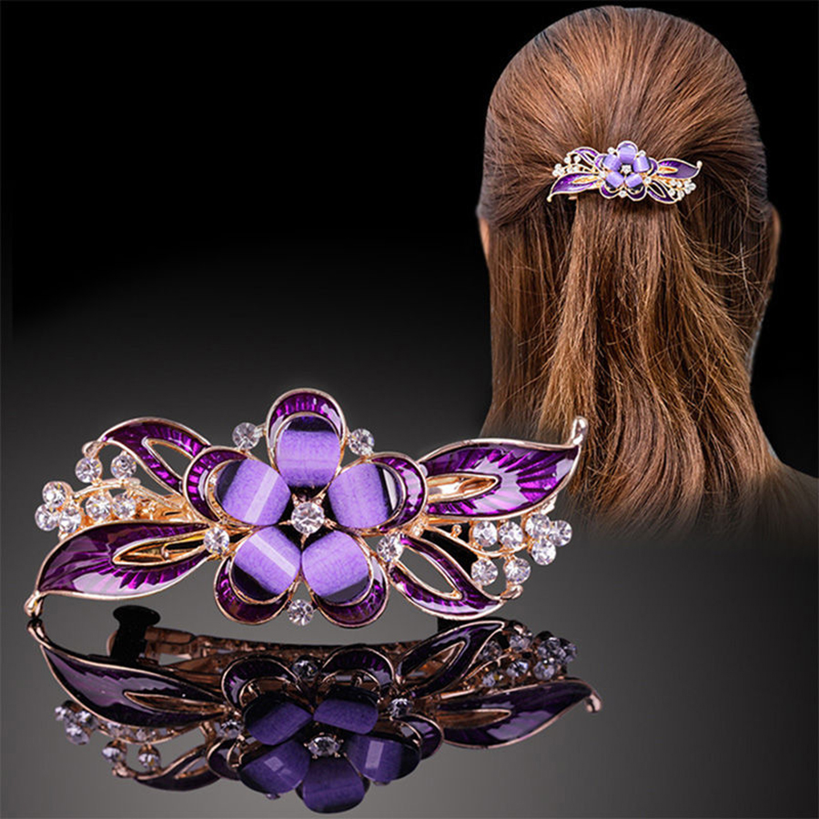 Haimeikang Retro Dripping Oil Barrettes For Women Rhinestone Butterfly Peacock Resin Hair Clips Bow Hairpins Hair Accessories