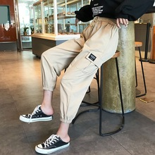 Harajuku אביב Streetwear גבירותיי מכנסיים נשים גברים מקרית מוצק גדול כיס מכנסיים גבוהה מותן Loose מכנסיים pantalones mujer