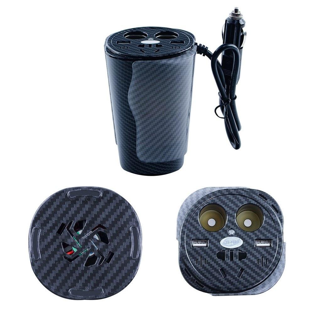 150 W tasse Type à commande vocale LED atmosphère colorée lumière voiture onduleur intégré silencieux ventilateur et fusible convertisseur universel