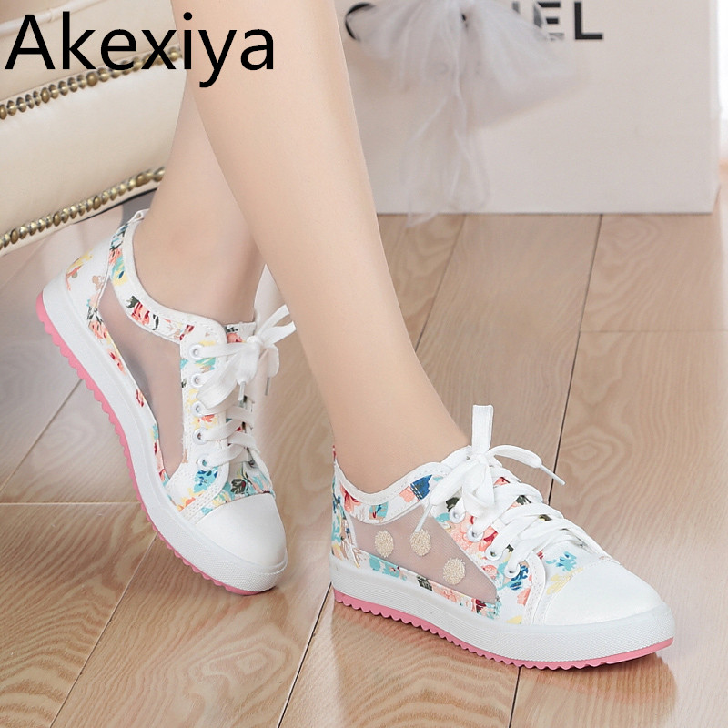 Akexiya spring and summer sweet woman fashion breathable mesh shoes comfortable flat shoes woman student girls shoes
