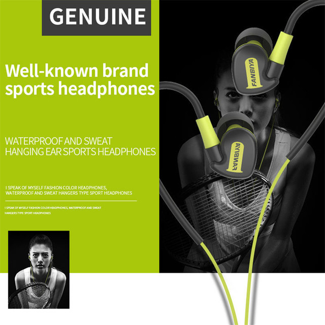 Waterproof IPX6 Wired earphones sport earbuds Super Bass Earphone Sport Workout Earbuds Headset With Mic for iphone se