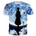 Das Mulheres dos homens Da Moda Em Ritmo Acelerado de Galáxias Camisetas Anime Bleach Kuchiki Rukia 3D t shirt Masculino Feminino Harajuku Tees Topos de Hip Hop