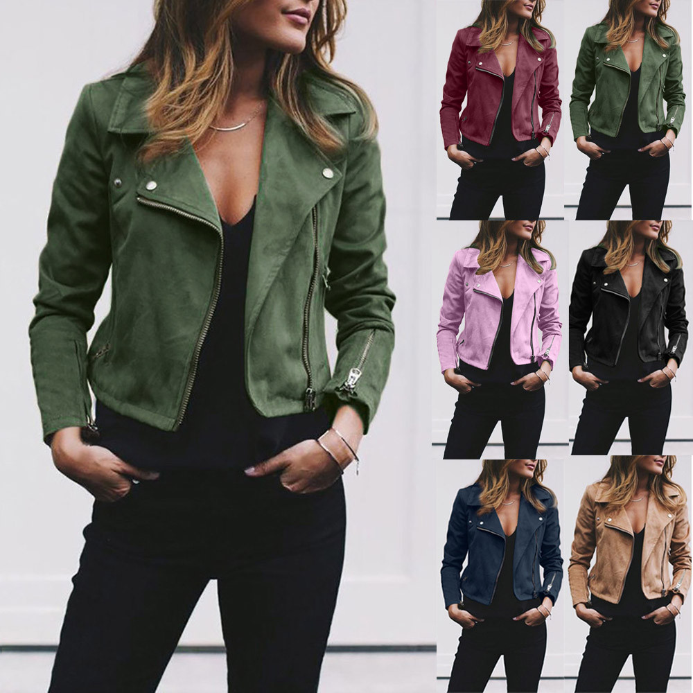 Fashion Womens Ladies Retro Rivet Zipper Up Bomber Jacket Casual Coat Outwear
