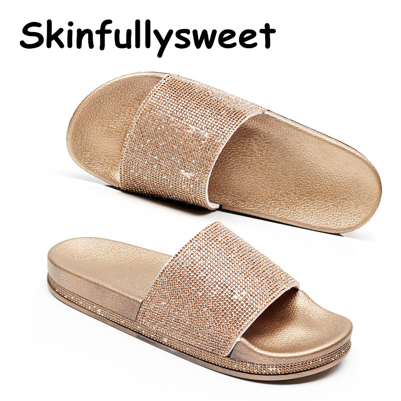 Big Size Crystal Diamond Slippers Summer Women Slippers Bling Beach Slides Flip Flops Ladies Sandals Casual Shoes Slip On Slides bailehou fashion women slippers crytal flip flops sandals slip on slides beach slipper flat casual shoes diamond bohemian shoes