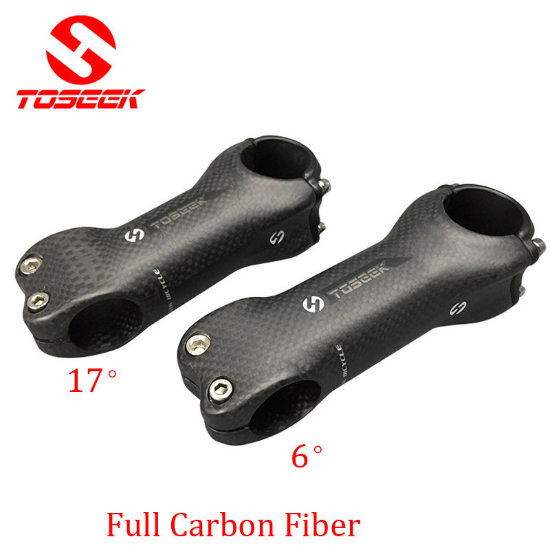 Full karbonfiber Sykkelvei mountain bike Bike Stem Mtb 6/17 Degree Frok 28.6 Bar 31.8 mm 70-130mm 3k matt sykkel Bicicleta Parts