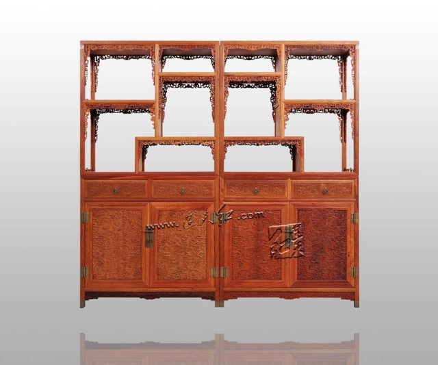 Mahogany Rosewood Combined Bookcase Chinese Furniture Study Room Bookshelf  Office Filing Storage Cabinets Stand Rack Cupboards