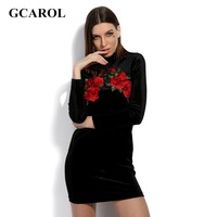 GCAROL 2017 Women Stereo Embroidery Floral Dress Sexy Velvet Bodycon Dress Cheongsam Style Invisible Zip High Quality Dress