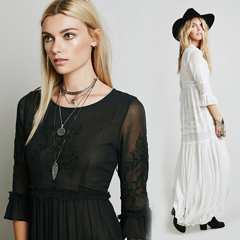e720324c26 Bohemian Embroidery Women boho dress Long maxi Dress Black white dress With Long  Sleeve Female chic vestidos brand clothing-in Dresses from Women's Clothing  ...