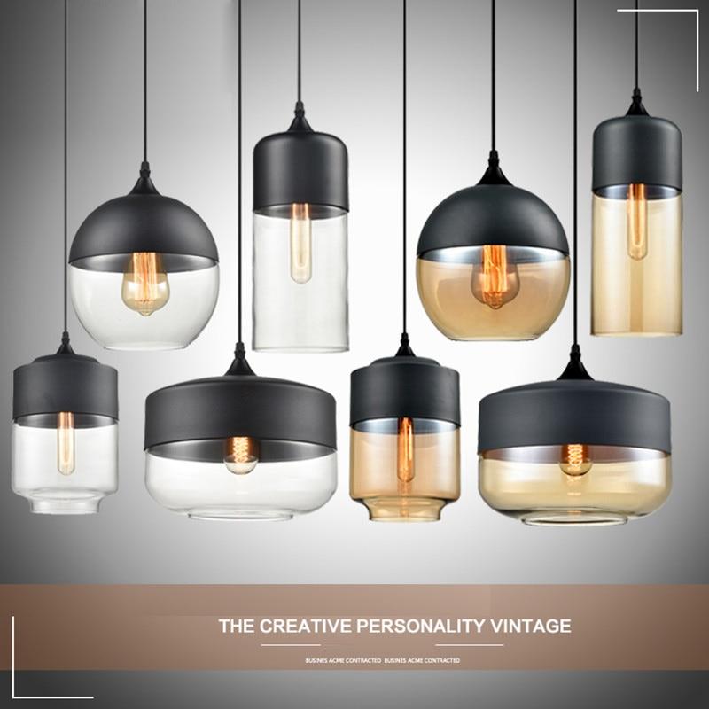 Nordic Industrial Style Loft Pendant Lights Dining Room Glass Personality Pendant Lamp American Rustic Style Art  Bar Lighting