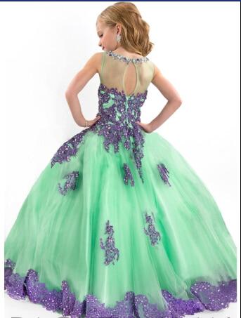 Новое поступление г. Праздничное платье для девочки платье фиолетовое и зеленое вечернее платье аппликация длина до пола платье с цветочным узором для девочек - Цвет: Зеленый