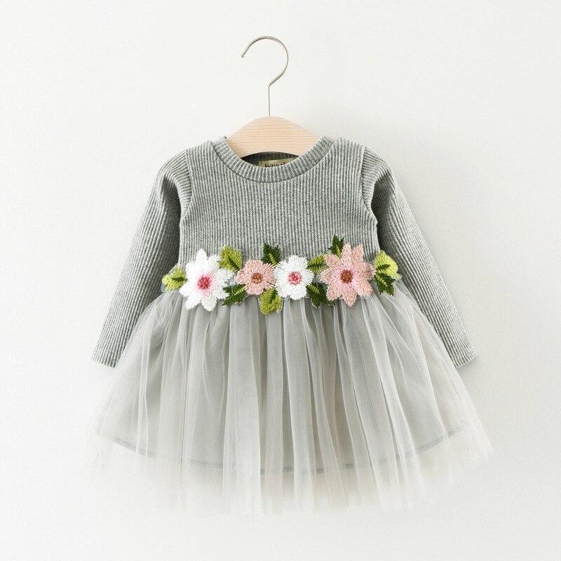Baby Girls Princess Dress Children Waist Flowers Long Sleeve Dress A031 New Fall 0-3 Years