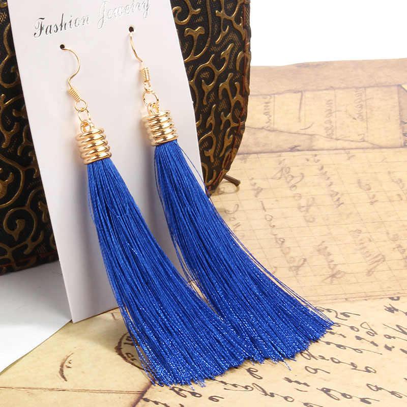 Berbeny Bohemian Long Tassel Earrings For Women Crystal Drop Earrings For Wedding Fashion Diverse Statement Party Jewelry 2019