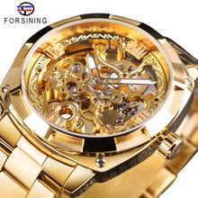 Forsining 2018 Fashion Retro Men's Automatic Mechanical Watch Top Brand Luxury Full Golden Design Luminous Hands Skeleton Clock цены онлайн