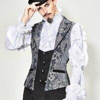 Vintage Men's Gray Embroidery Waist Coat Split Joint Black Retro Vest Shirts Accessory Party Wearing