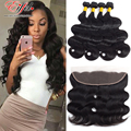 Cheap Sexy Formula Hair Remy Indian Virgin Hair Body Wave Bundles With Lace Frontal Closure Top 13X4 Ear To Ear Lace Frontals