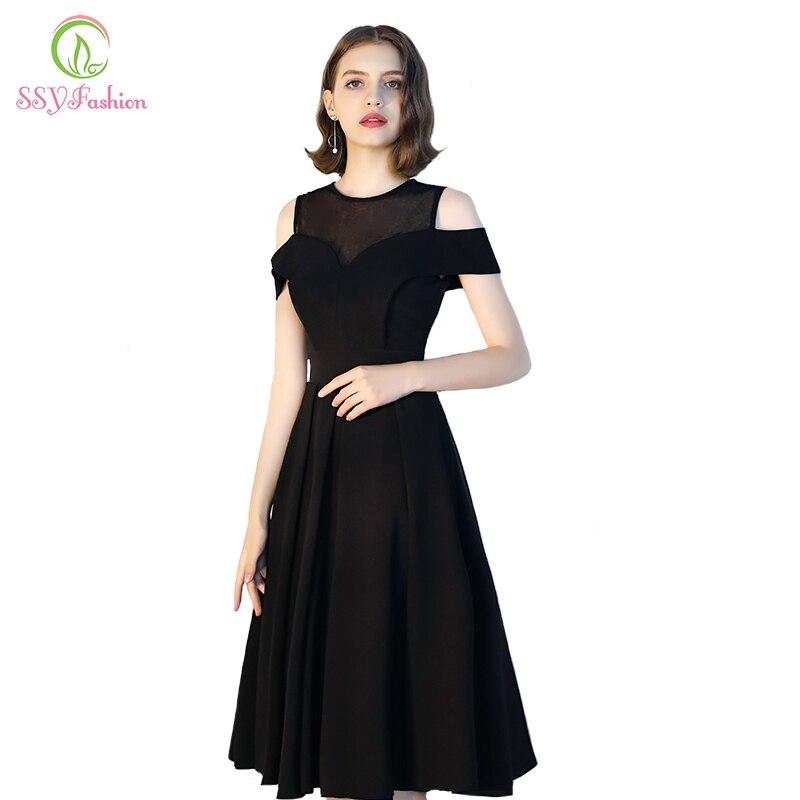 Ssyfashion New Banquet Elegant Cocktail Dresses Simple Little Black
