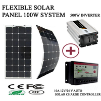 100W solar kit system with flexible solar panel 100W 10A solar charge controller 500w pure sine wave inverter 2M solar cable