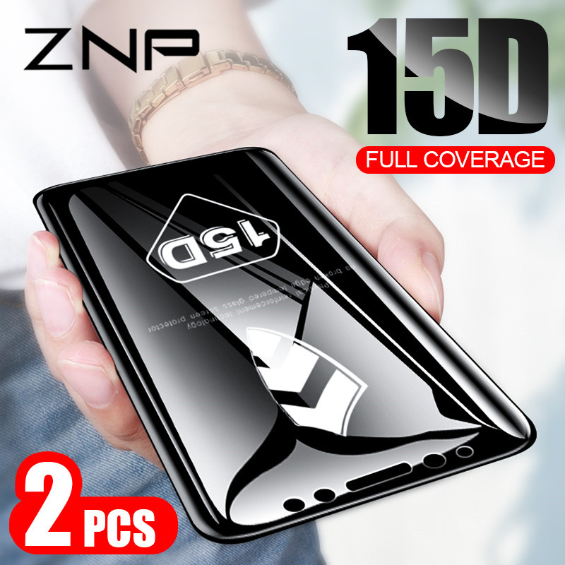 ZNP 2Pcs 15D Protective Tempered Glass For Samsung A3 A5 2016 A7 2017 Screen Protector For Samsung J4 J6 Plus A8 J7 2018 Glass