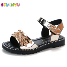 Black Pink Gold Kids Sandals Summer 2019 New Fashion Korean Princess Shoes for Girls Students Soft Bottom Childrens Beach