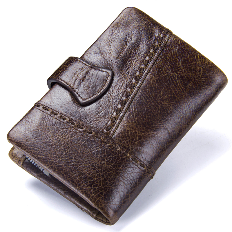 CONTACT'S Casual Men's Genuine Leather Short Wallet Hasp Design Key Holders Clutch Purse With Zipper Pouch Wallet Gift For Men 1