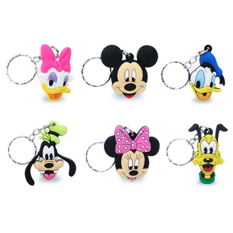 20PCS Mickey Minnie Figura Dos Desenhos Animados Pingente de Chave Anel Chave Da Cadeia de PVC Bonito do Anime Toy Kids Crianças Keychain Chave Titular xmas Gift