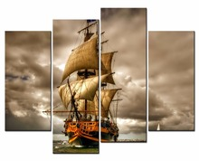 3Panel Posters Sea sailboat Painting On The Wall Modular Pictures HD Print Canvas Oil Paintings Mural