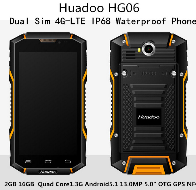 Huadoo HG06 Dual Sim 4G LTE IP68 Waterproof Phone 2GB 16GB Quad Core1 3Ghz Android5 1
