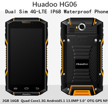 "4G-LTE Huadoo HG06 Dual Sim IP68 Teléfono Impermeable 2 GB 16 GB Quad Core1.3Ghz Android5.1 13.0MP 5.0 ""IPS OTG GPS 6000 mah de La Batería"