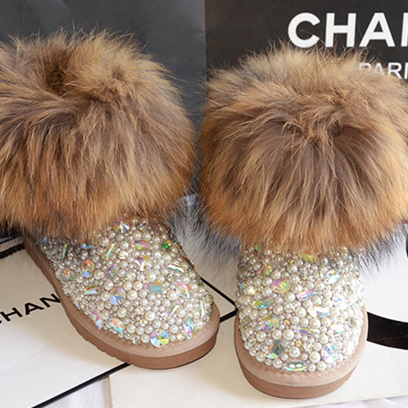Free Shipping Handmade Rhinestone pearl crystal girl's kids bling fox fur fashion Snow Boots children Boots warm Winter Shoes makita hr2460 кейс