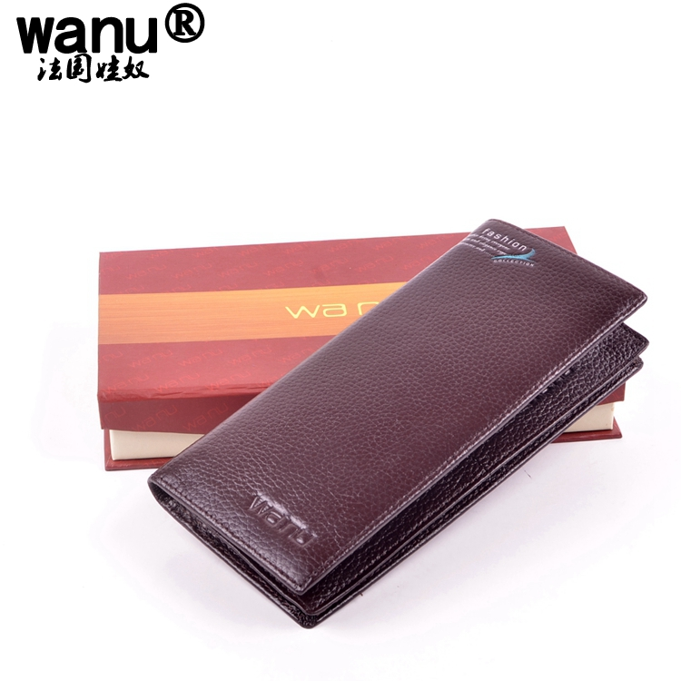9WANU Man Wallets 100% Genuine Cow Leather mans Purses Boy Coin Pocket Red Long Wallet Male For Boyfriend Gift