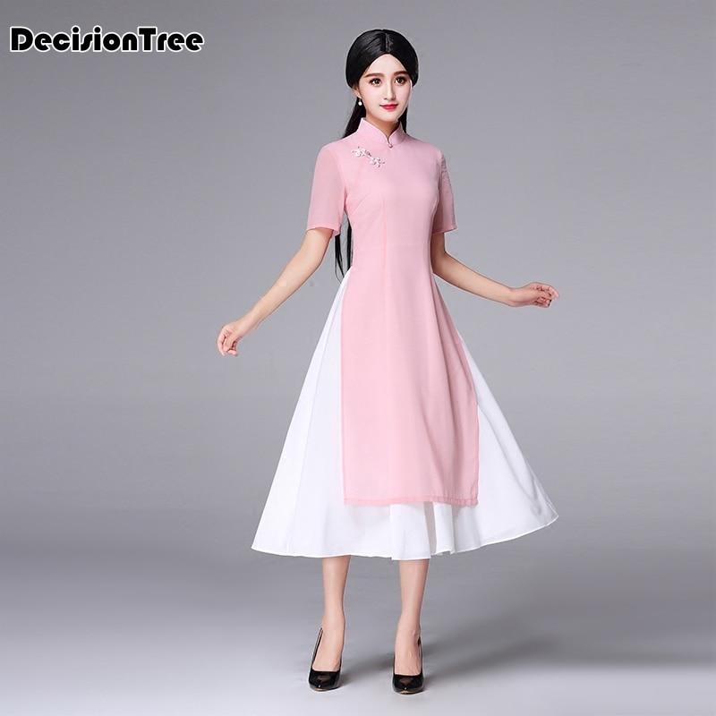 2019 Pink Woman Aodai Vietnam Traditional Clothing Ao Dai Vietnam Robes Vietnam Costumes Improved Cheongsam