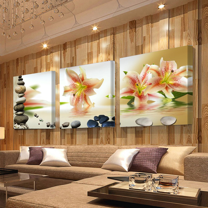 No Frame 3 Panels Canvas Paintings Modern Pictures And Elegant Cobblestone  Painting On Canvas Wall Art Picture In Living Room In Painting U0026  Calligraphy From ...