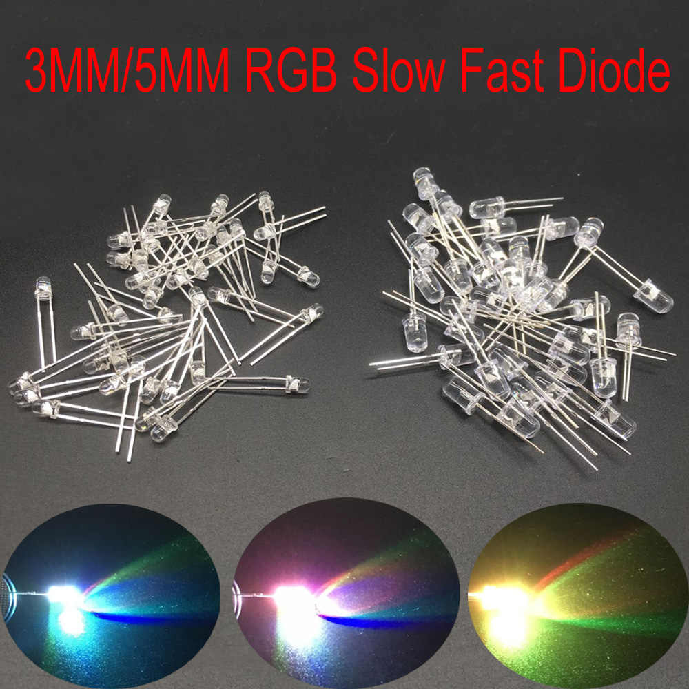 100X F5 5mm Ronde Slow RGB Fast RGB Flash Diode Led Rainbow Multi Color Rood Groen Blauw licht emitterende diodes water helder Lamp