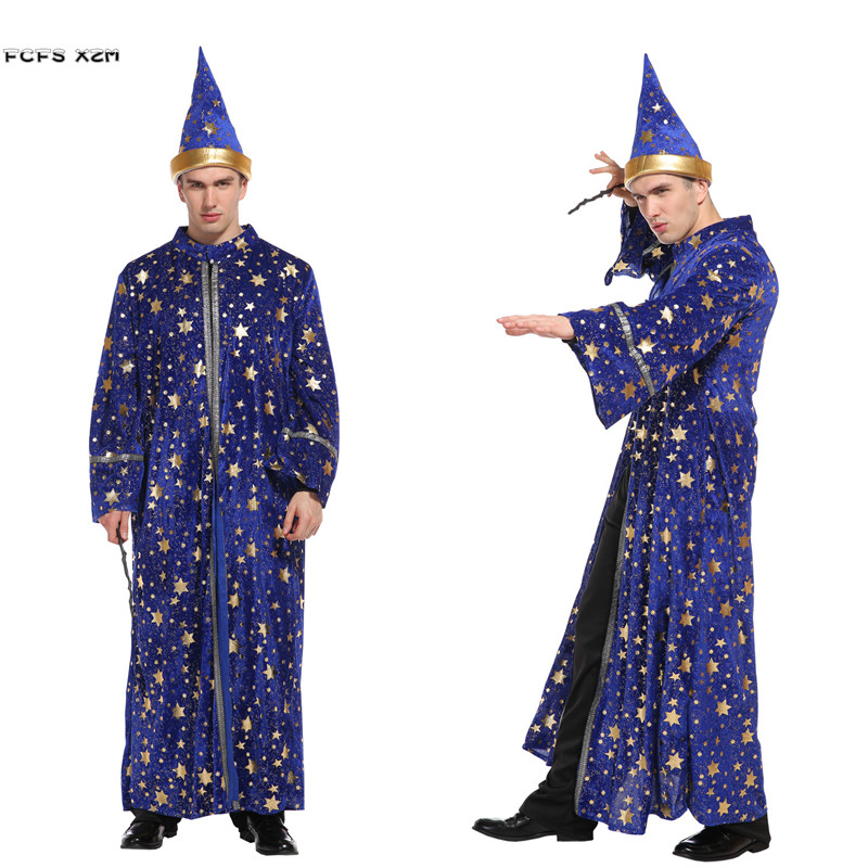 New Men Mage Robe Magic Gown Wizard Cosplays Halloween Magician Costumes Carnival Purim Festival Parade Stage Play Party Dress
