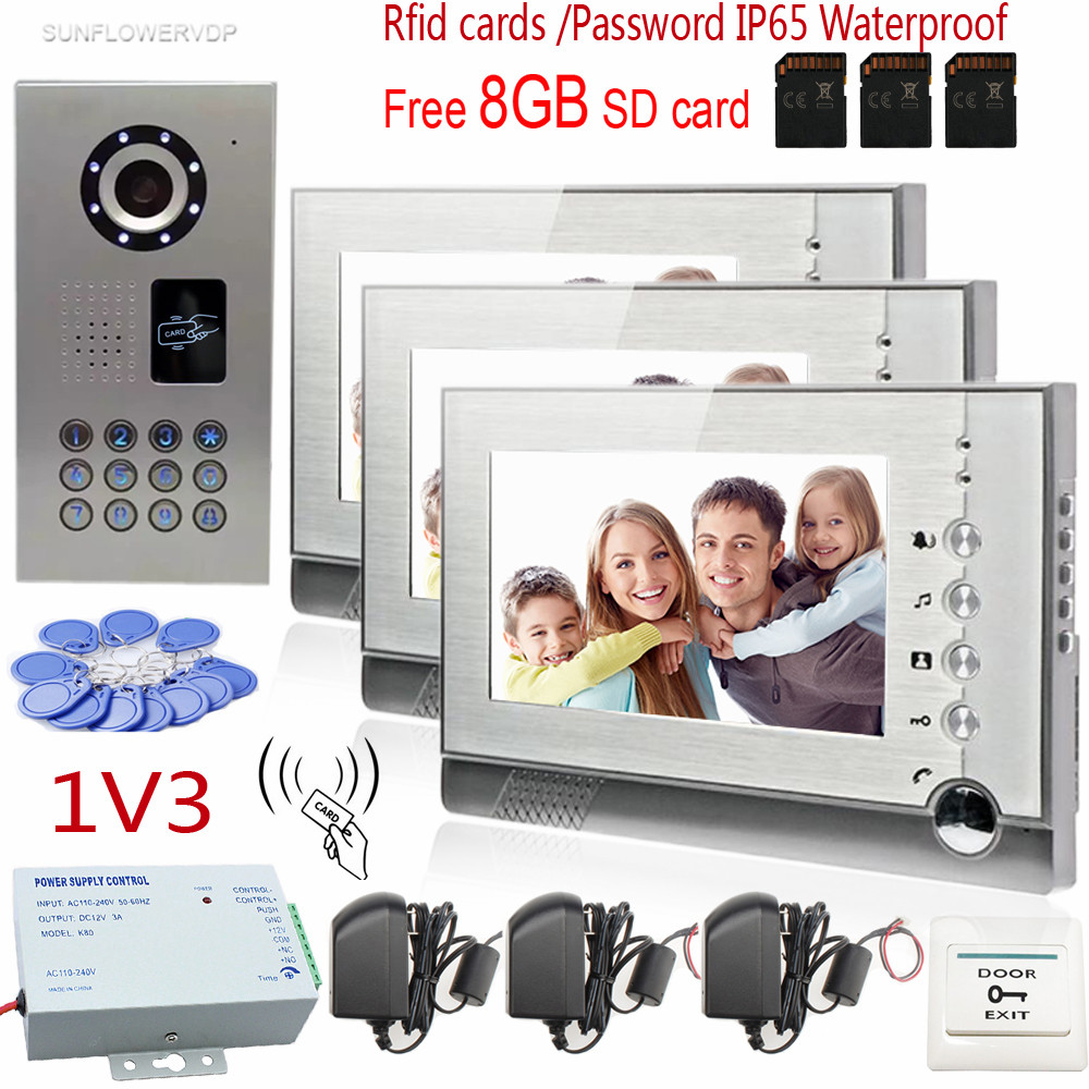 7 Video Recording Lcd Screen Video Door Phone Intercom 3 Screens + Rfid/Code IP65 Strong Waterproof Home Security CCD Camera m190etn01 0 lcd display screens