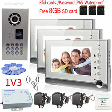 7″ Video Recording Lcd Screen Video Door Phone Intercom 3 Screens + Rfid/Code IP65 Strong Waterproof Home Security CCD Camera