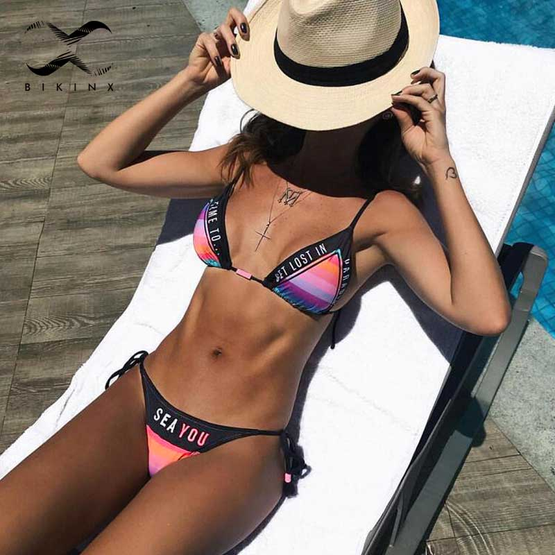 Rainbow print triangle bikinis set tassel sexy swimwear women halter swimsuit push up letter bikini 2018 Brazilian bathing suit halter crochet tassel bikini