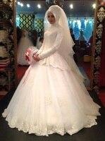 Длина пола халат де Mariage мусульманин свадебное платье бальное платье с длинными рукавами