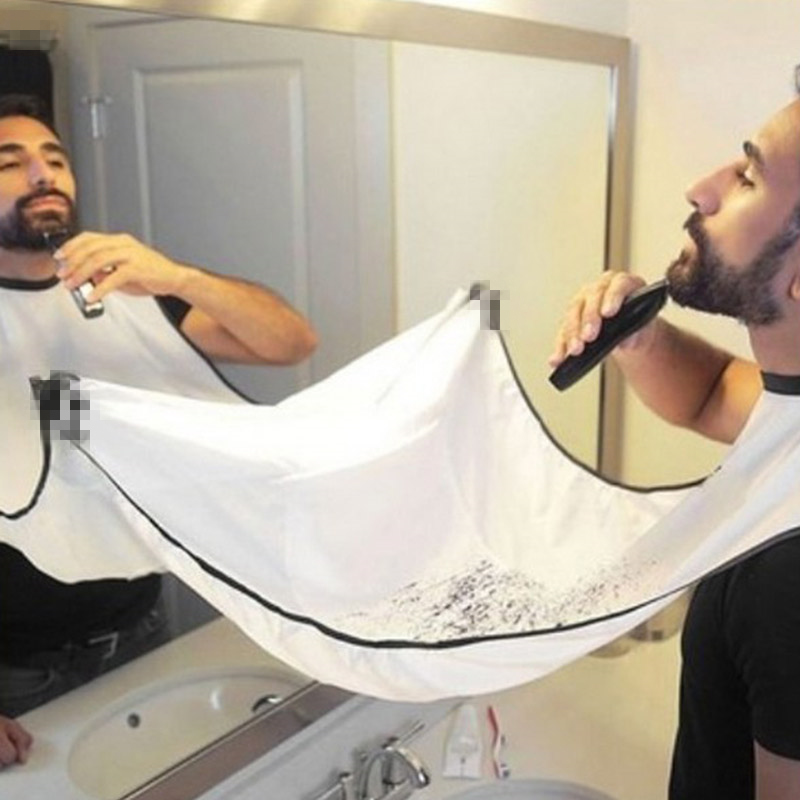 120x70cm Male Beard Black White Apron Bib Trimmer Hair Cape Sink Shaving Beard Apron Waterproof Bathroom Supplies