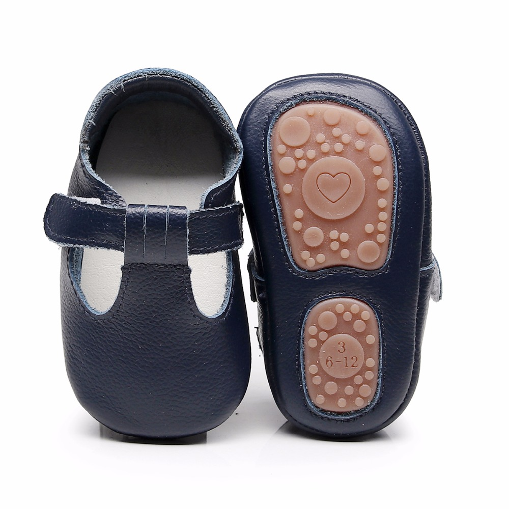 5557bd61dd13a 2019 hard rubber sole T bar style genuine Leather Baby Moccasins ...
