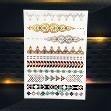 Flash Gold Silver Metallic Tattoo Indian Bracelet Chains 21x15CM Women Henna Lace Jewelry Temporary Fake Tattoo Sticker