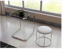 Toughened Glass Side Table Square Computer The Sofa Side Table