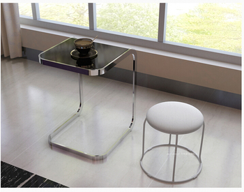 Toughened glass side table. Square computer the sofa side table toughened glass tea table stainless steel small square table the sofa side table flower